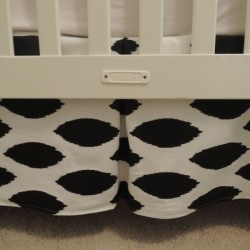 Ikat Black White Crib Skirt