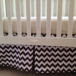 Brown Chevron Crib Skirt
