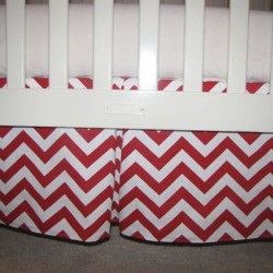 Red Chevron Crib Skirt
