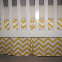 Yellow Chevron Crib Skirt