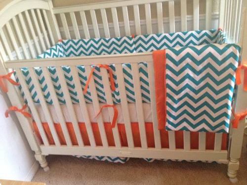 Cool Teal Orange Baby Bedding Set