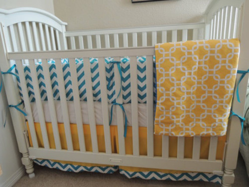 Mod Teal Yellow Baby Bedding Set