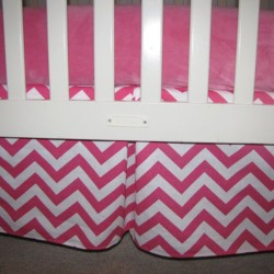 Candy Pink Chevron Crib Skirt