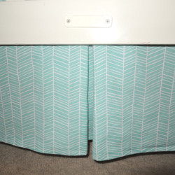 Herringbone Aqua Crib Skirt