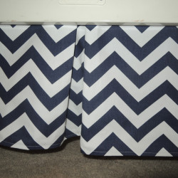 Navy Chevron Crib Skirt