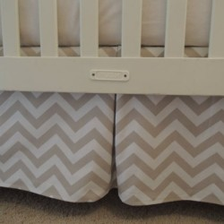 Taupe Chevron Crib Skirt