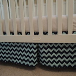 Two Tone Blue Crib Skirt