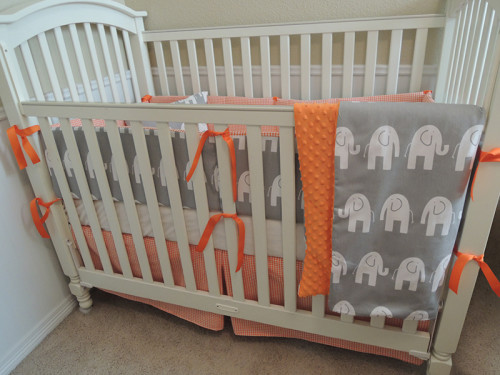 Orange Houndstooth and Gray Elephants