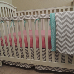 Gray Chevron Teething Guard Set