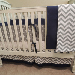 Navy Gray Chevron All Nighter Baby Bedding Set
