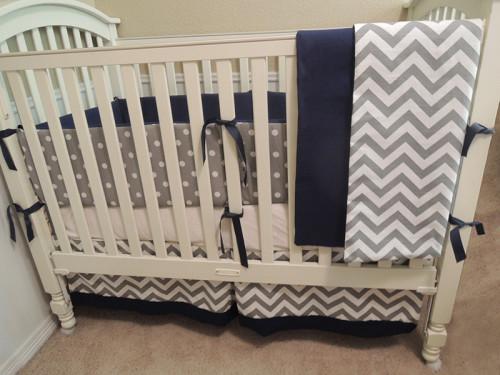 Navy Gray Chevron All Nighter Baby Bedding Set