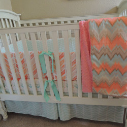 Coral Mint Chevron Baby Bedding Set