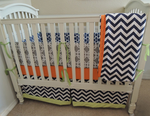 Gray and Navy Chevron Baby Bedding